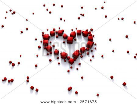 Red Heart Made Of Cubes