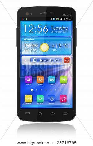 Schwarz glänzende Touchscreen-smartphone
