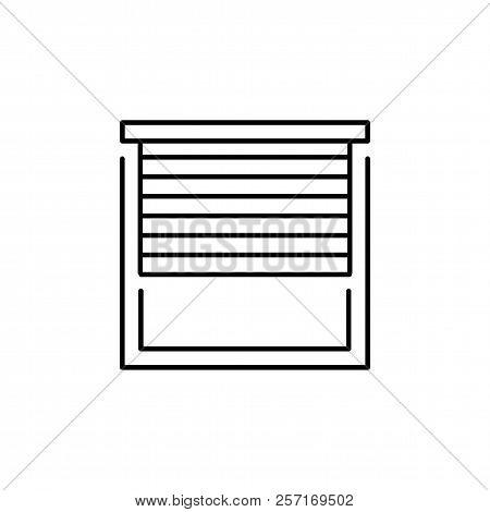 Vector Illustration Of Window Horizontal Blind. Line Icon Of Sun Protection Shade. Room Darkening &