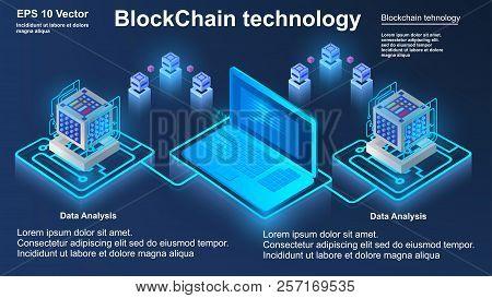 Blockchain Technology, Concept Of Big Data Processing, Isometric Data Center, Vector Information Pro