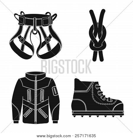 Vector Illustration Of Alpinism And Peak Symbol. Collection Of Alpinism And Camp Stock Symbol For We