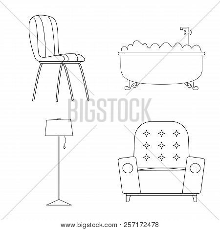 Vector Illustration Of Furniture And Apartment Icon. Collection Of Furniture And Home Stock Vector I