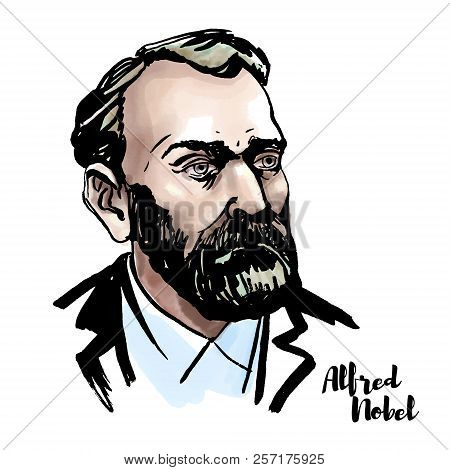 Alfred Nobel watercolor vector portrait with ink contours. Swedish chemist, engineer, inventor, businessman, and philanthropist. poster
