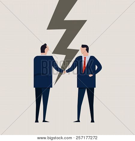 Businessmen Broken Contract Relationship Partnership Failure Cracked Disagreement. Businessman Hands