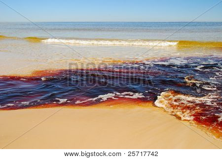 Discolored Water Mixing with Ocean Water