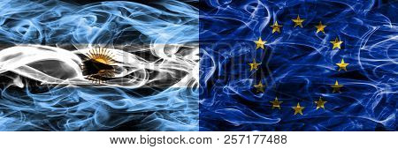 Argentina Vs European Union Smoke Flags Placed Side By Side. Thick Colored Silky Smoke Flags Of Arge