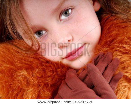 Pretty Girl in Fur Coat and Gloves