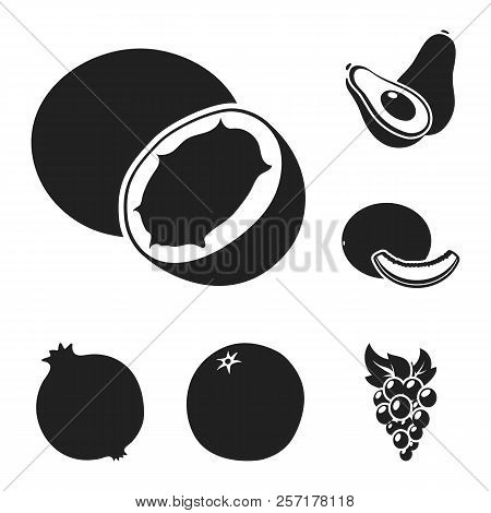 Different Fruits Black Icons In Set Collection For Design. Fruits And Vitamins Vector Symbol Stock W
