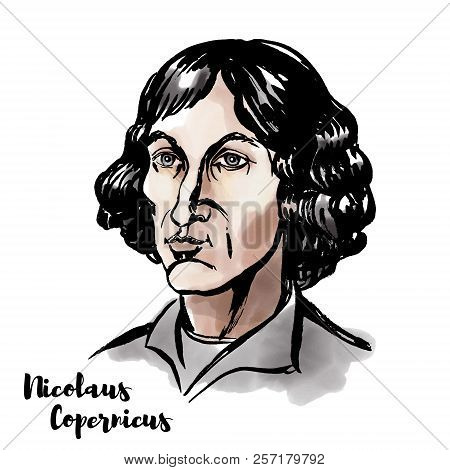 Nicolaus Copernicus watercolor vector portrait with ink contours. Renaissance-era mathematician and astronomer who formulated a model of the universe. poster