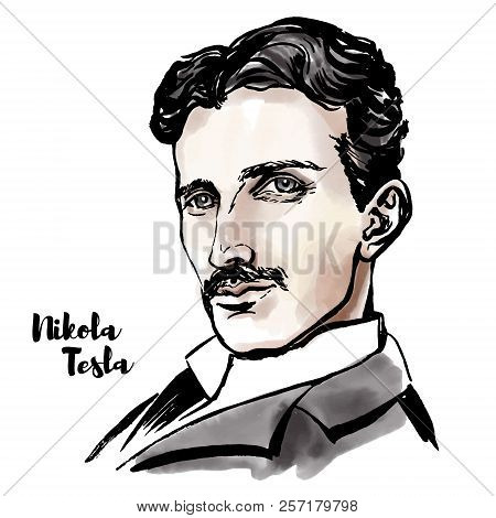 Nikola Tesla Watercolor Vector Portrait With Ink Contours. Serbian-american Inventor, Electrical Eng