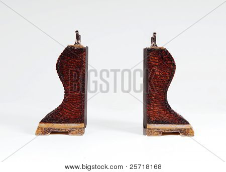 Antique book ends covered in leather