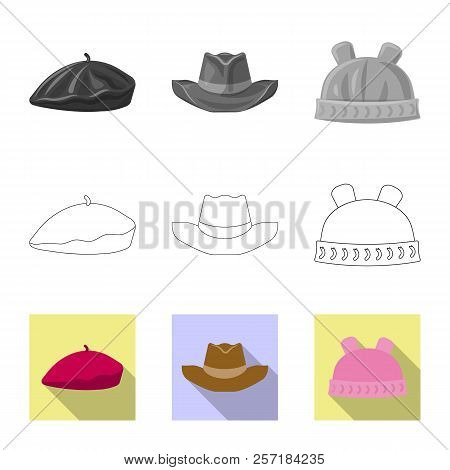 Vector Design Of Headwear And Cap Symbol. Collection Of Headwear And Accessory Stock Vector Illustra
