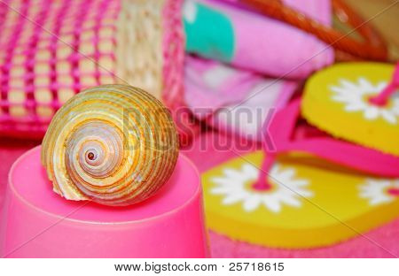 Pretty seashell on pink pail next to beach accessories