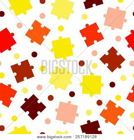 seamless tileable pattern with puzzle pieces vector - orange and yellow colors poster