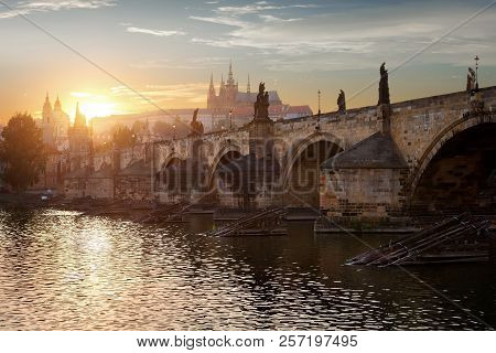 Dusk Over The Charles Bridge In Prague, Czech Republic