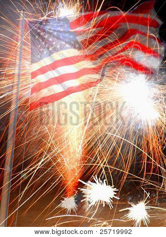 American flag waving with fireworks as background