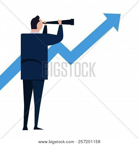 Businessman Looks Through A Telescope On Growth Arrow. Vision And Growth Concept. Business Concept C