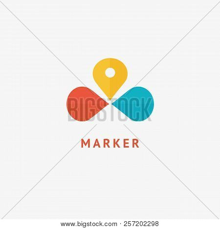 Map Marker Icon. Vector Flat Style Illustration Location Pin Logotype Design. Location Pin Navigatio