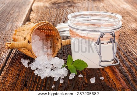 Healthy Natural Drink Made From Tibi Crystals On Wooden Table. Natural Medicine.