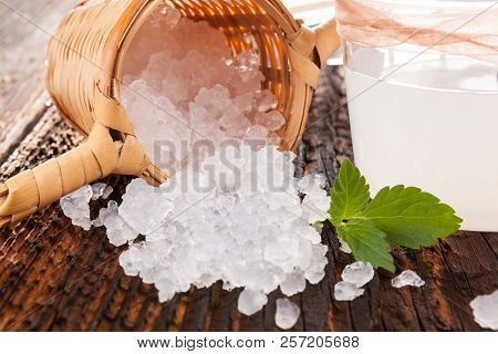 Tibi Crystals In Little Basket With Fermented Water On Wooden Table.