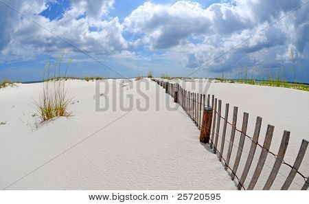 Sand dune fence on gorgeous pristine coast