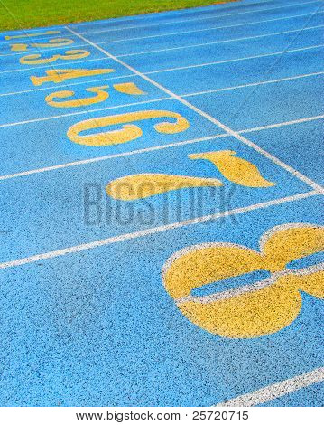 Numbered lanes on community running track