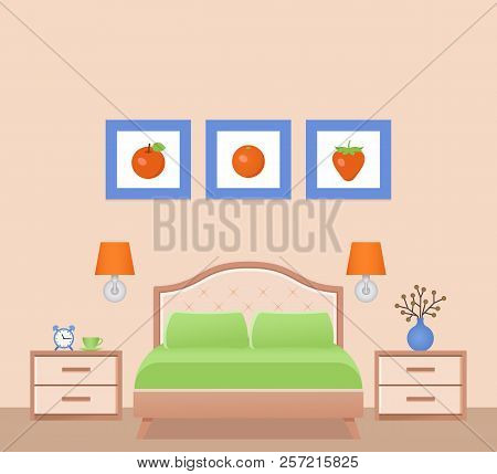 Hotel Room With Double Bed. Vector. Bedroom Interior. Modern Home Space With Furniture In Flat Desig