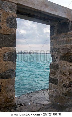 Stone Door On The Sea In Peñiscola. Castellon. Spain.