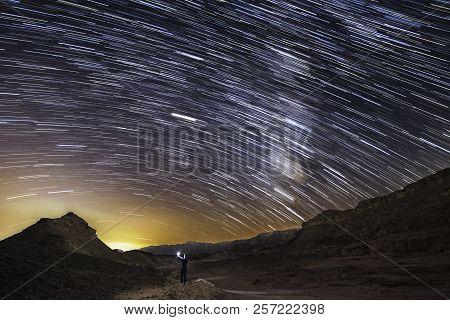 Beautiful Milky Way At White Pocket Wilderness Touring Spot In Arizona Desert.