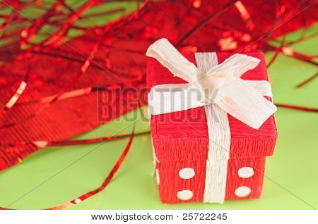 Gift box and party streamers