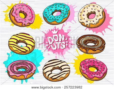 Donut Vector Set Isolated. Lettering, Crown, Logo. Colorful Donuts Collection. Sweet Sugar Icing Don