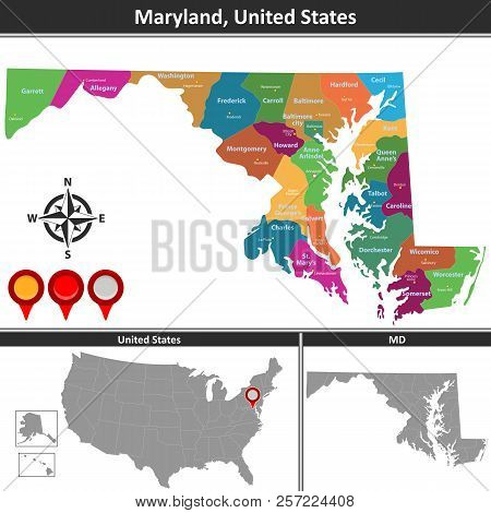 Vector Map Maryland Vector & Photo (Free Trial) | Bigstock