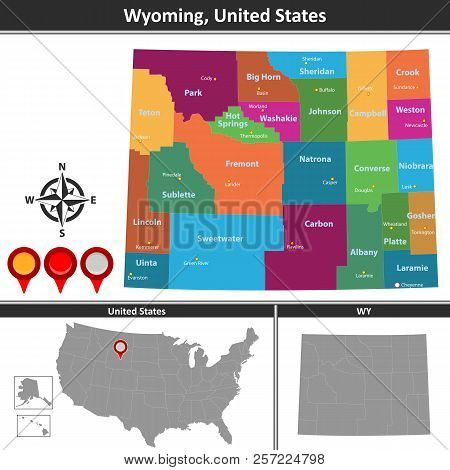 Vector Map Wyoming Vector & Photo (Free Trial) | Bigstock