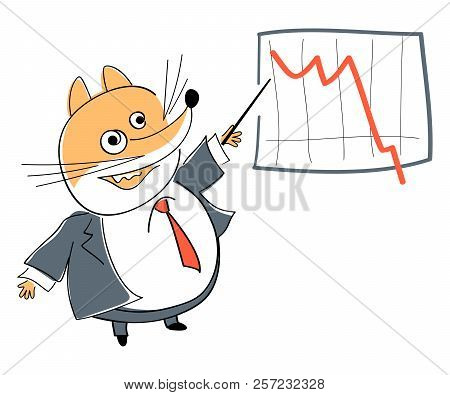 Funny Fox Points To Business Graphic With Stick. Business Coach. Mascot. Cartoon Character.