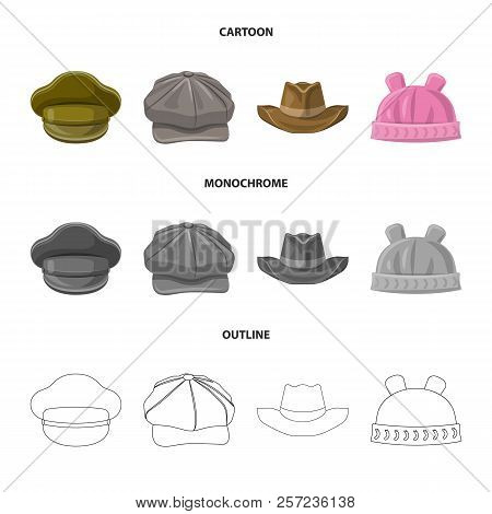 Vector Design Of Headwear And Cap Symbol. Set Of Headwear And Accessory Stock Vector Illustration.
