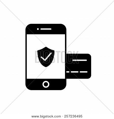 Secured Mobile Payment Icon. Smartphone And Credit Card Safe Payment Concept Icon.