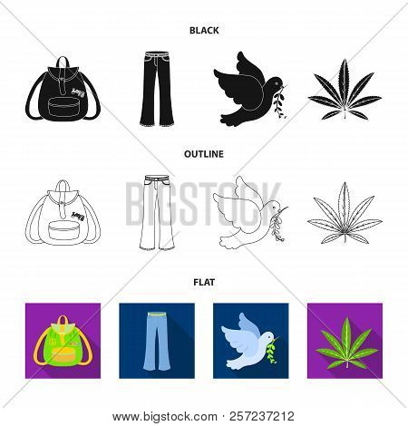 A Cannabis Leaf, A Dove, Jeans, A Backpack.hippy Set Collection Icons In Cartoon Style Vector Symbol