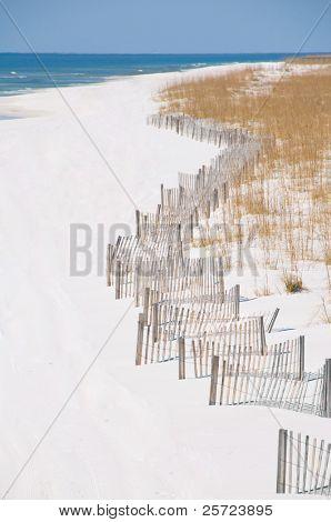 Pensacola beach with sand dune fence