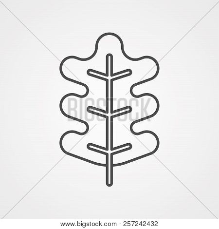 Oak Leaf Icon In Outline Style Isolated On White Background. Canadian Thanksgiving Day Symbol Stock