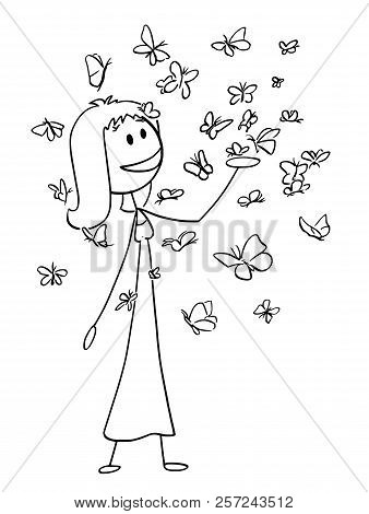 Cartoon Stick Drawing Conceptual Illustration Of Happy Smiling Woman Or Girl Enjoying To Be Surround