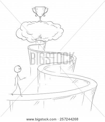 Cartoon Of Man Or Businessman Walking Up The Path To Heaven For His Dream And Success