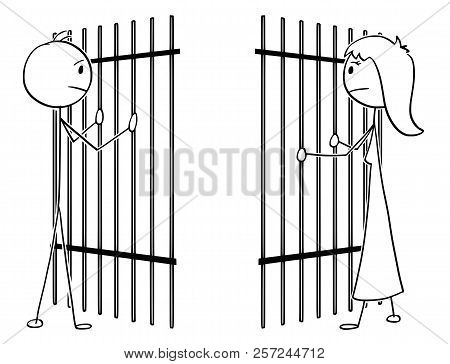 Cartoon Stick Drawing Conceptual Illustration Of Couple Of Man And Woman Divide By Prison Iron Bars.