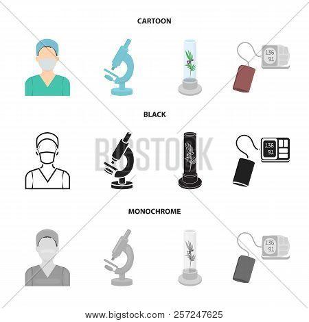 Plant In Vitro, Nurse, Microscope, Tonometer. Medicine Set Collection Icons In Cartoon, Black, Monoc