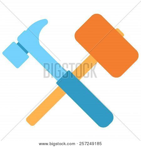 Lump Hammer And Hammer Icon In Flat Color Design Vector Illustration