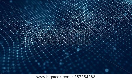 Data Technology Illustration. Wave With Connecting Dots And Lines On Dark Background. Wave Of Partic