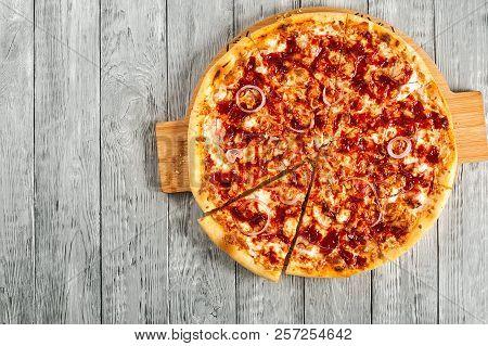Hot Tasty Homemade Bbq Pizza Ready To Eat