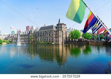 Binnenhof - Dutch Parliament With Netherlands Flags, The Hague, Holland