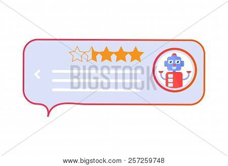 Chatbot Vector Illustration: Chat Bot Support Feedback Review Robot Icon.