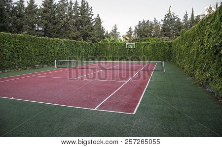 Artificial Surface Tennis Court. Sport And Health Concept