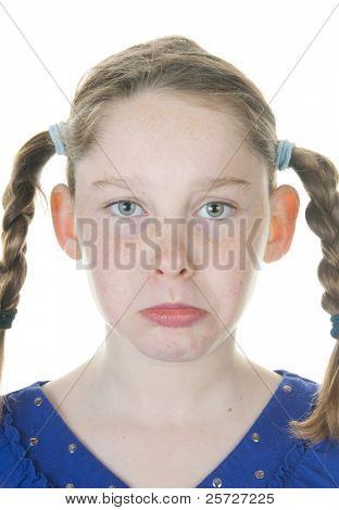 girl upset in braids